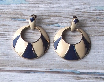 Gorgeous blue and cream enamel vintage earrings with gold tone metal