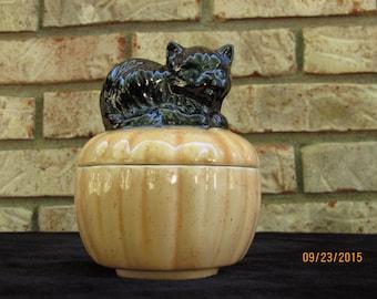 Ceramic Black Cat on Pumpkin Dish