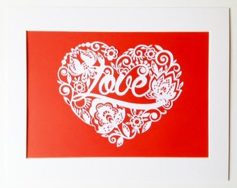 Love Heart Papercut Mounted Typography Home Decor