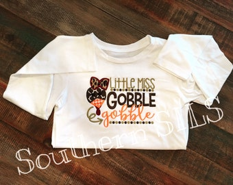Little Miss Gobble Gobble - Girls Long Sleeve Shirt