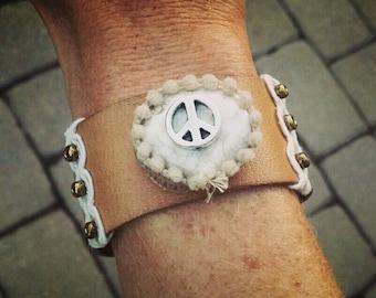 Leather Peace Cuff Bracelet