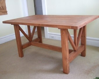 Handmade Table - Rustic Wooden Dining Table – Solid Wood  Kitchen Table - Handmade Farmhouse Table - Real Solid Wood Table