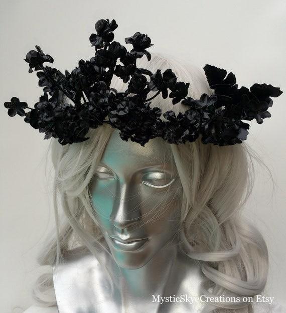 Black Flower Crown Gothic Flower Crown Black Flower: Black Floral Crown One Of A Kind Gothic Fairy Medieval