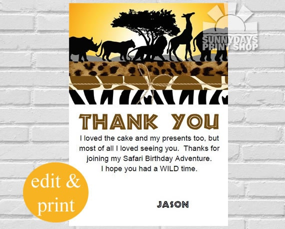 Brand new Safari Thank You Cards, Safari Birthday Thank You Cards, Jungle  KT71