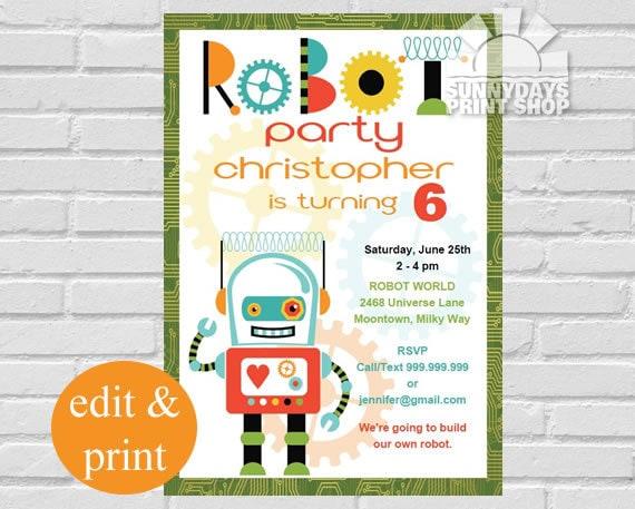 robot invitation robot birthday party invitation robot party