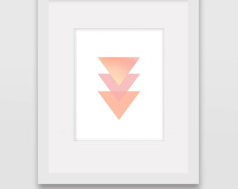 Geometric Triangles Coral - Wall Art Print