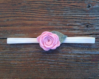 Petit Pale Pink Rose on Ivory headband