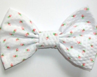 Fabric Hair Bow or Clip on Bow Tie