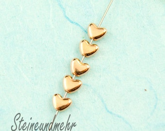 10 x beaded heart small 6mm rose gold plated art. 2759