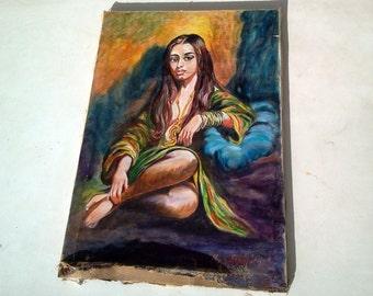 portrait of a lady Original Oil Painting Canvas  signed Greek painter mimi