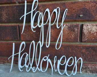 Modern Laser Cut Wood Sign Happy Halloween Script Wall Decoration