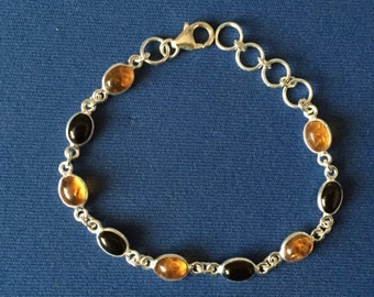Amber and Onyx cabochon set Sterling Silver Bracelet