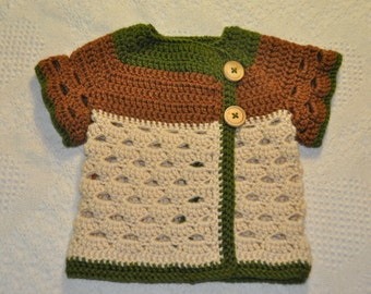 Lacy Acorn Baby Sweater