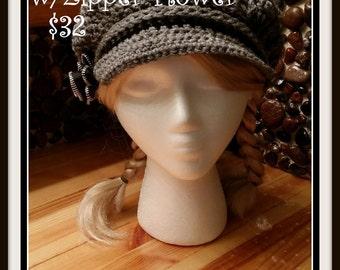 Crochet Paperboy Hat w/Zipper Flower