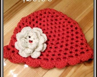 Crochet Flapper Hat w/Flower
