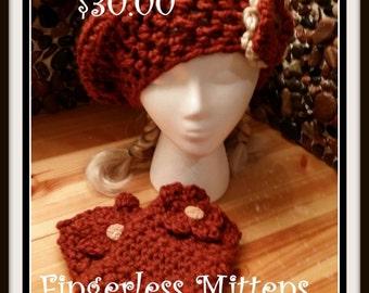 Crochet Floppy Flower Beret w/Fingerless Mittens Set
