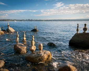 Balancing Stones 2, Vancouver, Canada. Art photo print, natural sculpture
