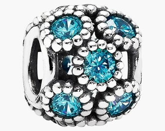 Pandora Teal Studded lights Openwork Circles Sterling Silver Charm