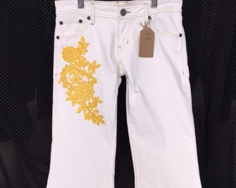 Lace embellished jeans
