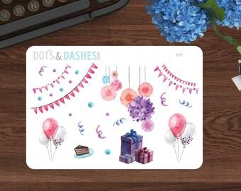 B79, Watercolor celebration stickers, birthday stickers, party reminder stickers, kikki k, happy planner, life planner, planner stickers