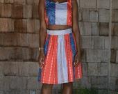 Blue, Red, & Grey Midi Striped Skirt W/ Waistband