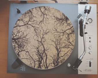 Cork Record Player Slipmat With Laser Etched Tree Branch Design