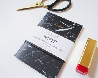 Black Marble Gold Foil 'Notes' A6 Notebook