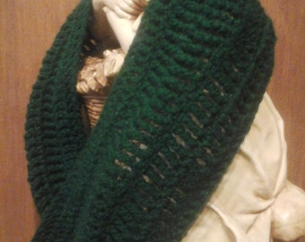 Hunter Green Crocheted Scarf