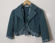 Women's Frilly Jacket, Short Vintage Coat, Green Jacket, Blue Jacket, Trimmed Frills, Woman's Vintage Jacket, Vintage Coat, Victorian
