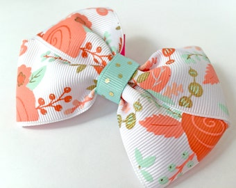 "Coral Petals // ""Belle"" style bow // Clip or Headband // Babies, Toddlers, Little Girls"