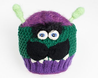 Funny monster hat, Monster hat, Toddler hat, Funny hat, Crazy hat, Photo prop, Winter hat, Purple hat, Green hat, Kids present, Baby gift,