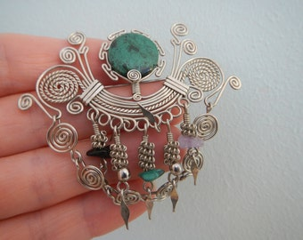 Natural Stones Vintage Brooch