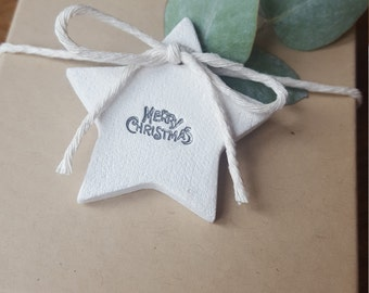10 Star Christmas Tags ~ Christmas Tags ~ Clay Gift Tags  ~ Christmas Gift Wrapping ~ Clay Christmas Tags