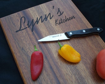 11x15 Personalized MAHOGANY Cutting Board.  Choose your script.  Great gift for Christmas, birthday or just because.  We Ship FAST!