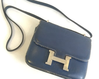 hermes Mini Constance Shoulder Bag BLUE