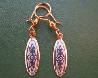 "SALE Gold-plated earrings from sterling silver  oval shape Silver earrings ""White Nights"" ""Severnaya Chern"". Russian silver Handmade"
