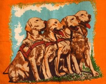 Retro Vintage Polish Linen Golden Retriever Tea Towel - 50s Guide Dogs for the Blind Tea Towel