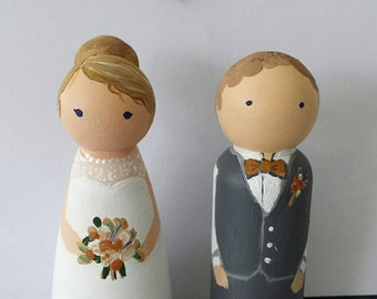Custom Peg Dolls Bride & Groom Wedding Cake Topper Personalized couple wooden hand painted bridal Gift can do Bridesmaids + Party customized