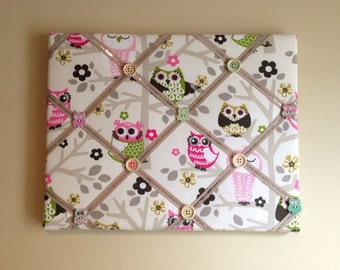 "Mini French Bulletin Board - Pink Owls 11"" x 14"""
