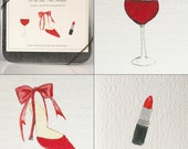 Holiday Fashion Note Cards -- In the Red -- Cd tin