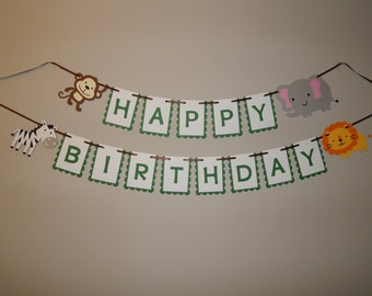 Safari Happy Birthday Banner, Safari Highchair banner, Safari Party Decorations