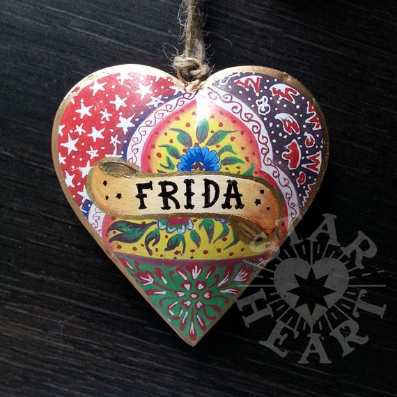 Hanging Heart Folk Style With Jute String. Personalise With Your Name/Date