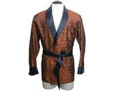Vintage Mens 1960s Brocade Smoking Jacket Lounging Robe Coppery Orange and Black