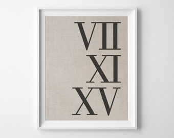 Roman Numerals Wedding Date | Personalized Linen Print | Gift for Husband | Bridal Shower Gift | 4th Anniversary Gift | Linen Anniversary