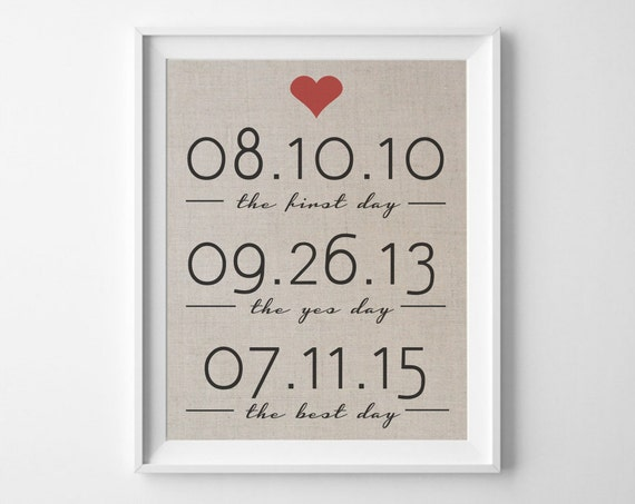 The First Day Linen Print Best Days Wall Art Important