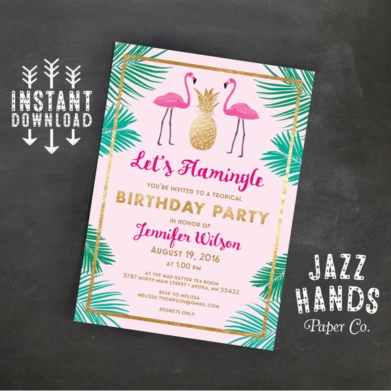 Let's Flamingle Printable Birthday Invitation Template ...