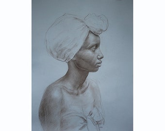 Portrait of African American woman drawing
