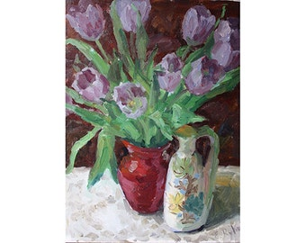 Still Life with tulips and vases oil painting