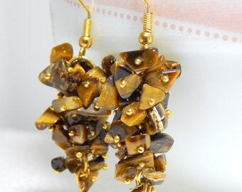 Lovely Tiger Eye Gemstone earring /Tiger Eye chips metal earrings / Netural gemstone earring top quality.