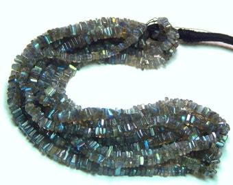 70%OFF Labradorite Blue Flash Heishi Beads Smooth Square Shape 100 Persent Natural Gemstone Size 4x3 mm Approx  - 0312